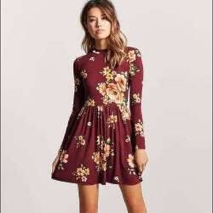 Forever 21 Long Sleeve Floral Cutout Back Dress M